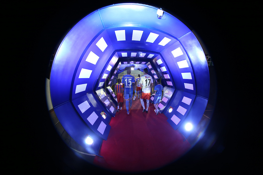 Players Tunnel during match 25 of the Indian Super League (ISL) season 2  between FC Goa and FC Pune City held at the Jawaharlal Nehru Stadium, Fatorda, Goa, India on the 30th October 2015.<br /> <br /> Photo by Sandeep Shetty / ISL/ SPORTZPICS
