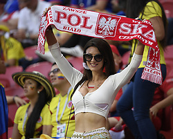 KAZAN, June 24, 2018  A fan of Poland is seen prior to the 2018 FIFA World Cup Group H match between Poland and Colombia in Kazan, Russia, June 24, 2018. (Credit Image: © Lui Siu Wai/Xinhua via ZUMA Wire)
