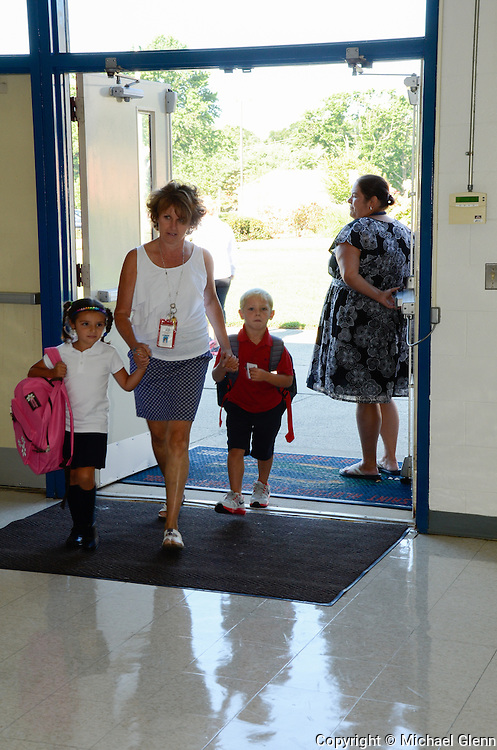 Jackson NJ, USA 04Sept2013 First day of school for students at Saint Aloysius, Teachers walk into school with students