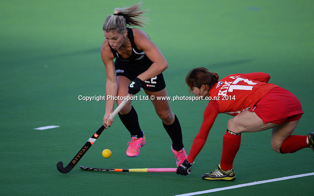 Gemma Flynn in action. International Womens Hockey. New Zealand Black Sticks v Korea. Auckland. New Zealand. Friday 28 March 2014. Photo: Andrew Cornaga / www.photosport.co.nz
