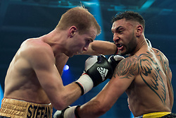 12.03.2016, Jahnsportforum, Neubrandenburg, GER, Boxgala, WBA Weltmeisterschaftskampf, im Bild v.l. Stefan Haertel (Germany) vs Tobias Webb (Germany), Super Middleweight // during the WBA Light Heavyweight World Championship Boxgala at the Jahnsportforum in Neubrandenburg, Germany on 2016/03/12. EXPA Pictures © 2016, PhotoCredit: EXPA/ Eibner-Pressefoto/ Koch<br /> <br /> *****ATTENTION - OUT of GER*****
