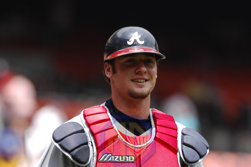 17 May 2006:  Atlanta Braves catcher Jarrod Saltalamacchia (18) prepares for the game against the Washington Nationals. The Nationals defeated the Braves 4-3 at RFK Stadium in Washington, D.C.