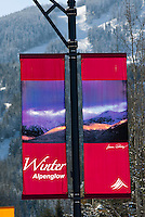 For 2008-09 winters I created custom banners to hang on the light posts along the roadways of Whistler, BC, Canada