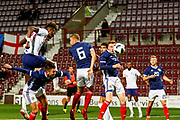 Tammy Abraham England U21s (Aston Villa, loan from Chelsea) heads towards goal during the U21 UEFA EUROPEAN CHAMPIONSHIPS match Scotland vs England at Tynecastle Stadium, Edinburgh, Scotland, Tuesday 16 October 2018.
