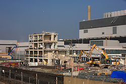 UK ENGLAND DUNGENESS 24MAR12 - Demolition works of a small office block at  Dungeness nuclear power station on the Kent coast.....jre/Photo by Jiri Rezac....© Jiri Rezac 2012