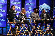 Members of The Black Eyed Peas (L-R) Jaime Luis Gómez (better known as Taboo), Stacy Ann Ferguson (better known as Fergie), William James Adams Jr. (better known as will-i-am), and Allan Pineda Lindo Jr. (better known as apl.de.ap) speak to the media at the Super Bowl XLV Halftime Show press conference featuring The Black Eyed Peas (held during the week of NFL Super Bowl XLV between the Pittsburgh Steelers and the Green Bay Packers) on Thursday, February 3, 2011 in Dallas, Texas. ©Paul Anthony Spinelli