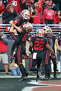 San Francisco 49ers quarterback Brian Hoyer (2) gets a lift in the air from San Francisco 49ers rookie tight end George Kittle (85) after running for a first quarter touchdown that ties the score at 7-7 during the 2017 NFL week 3 regular season football game against the against the Los Angeles Rams, Thursday, Sept. 21, 2017 in Santa Clara, Calif. The Rams won the game 41-39. (©Paul Anthony Spinelli)