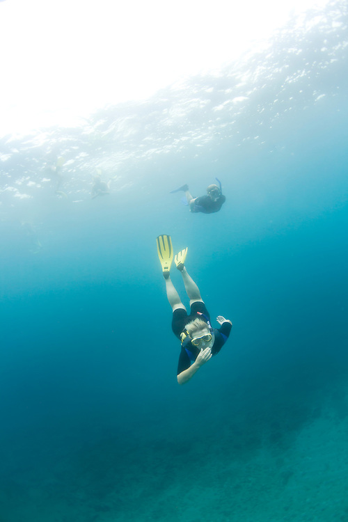 Woman free diving