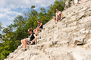 The ruins of Coba on the Rivera Maya in Mexico about 45 minutes from Tulum is unique in that the main ruins, Nohoch Mul, are one of the few the public is allowed to climb.
