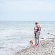 20190821 Dogs on Lake Michigan Beach