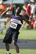 London, Ontario ---07/06/08--- Kelvin Muamba of Our Lady of Mount CarmelinMissi competes in the Shot put at the 2008 OFSAA Track and Field meet in Hamilton, Ontario..Sean Burges