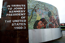 © Licensed to London News Pictures. 27/11/2013. Birmingham, UK. Kennedy Mural Birmingham. The JFK Memorial in Floodgate Street, Digbeth, Birmingham with the incorrect Presidential dates visible to the left. Photo credit : Dave Warren/LNP
