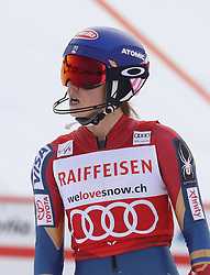 28.01.2018, Lenzerheide, SUI, FIS Weltcup Ski Alpin, Lenzerheide, Slalom, Damen, 2. Lauf, im Bild Mikaela Shiffrin (USA) stinksauer im Ziel // Mikaela Shiffrin of the USA reacts after her 2nd run of ladie's Slalom of FIS ski alpine world cup at the Lenzerheide, Austria on 2018/01/28. EXPA Pictures © 2018, PhotoCredit: EXPA/ Sammy Minkoff<br /> <br /> *****ATTENTION - OUT of GER*****