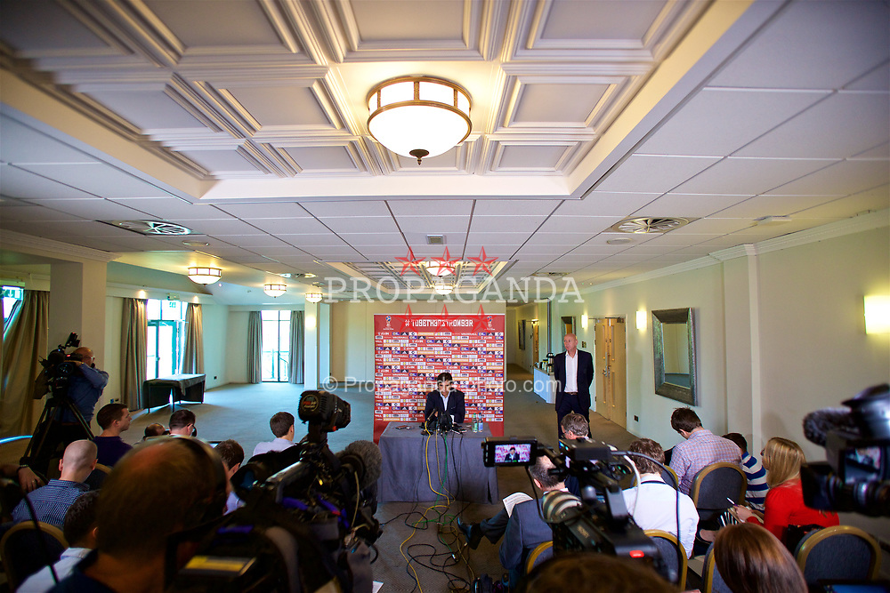 CARDIFF, WALES - Thursday, May 25, 2017: Wales' manager Chris Coleman at the Vale Resort during a press conference to announce his squad ahead of the 2018 FIFA World Cup Qualifying Group D match against Serbia. (Pic by David Rawcliffe/Propaganda)