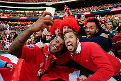 Mark Little poses for a selfie with supporters after Bristol City win the match 2-0 to lift the Football League Trophy - Photo mandatory by-line: Rogan Thomson/JMP - 07966 386802 - 22/03/2015 - SPORT - FOOTBALL - London, England - Wembley Stadium - Bristol City v Walsall - Johnstone's Paint Trophy Final.