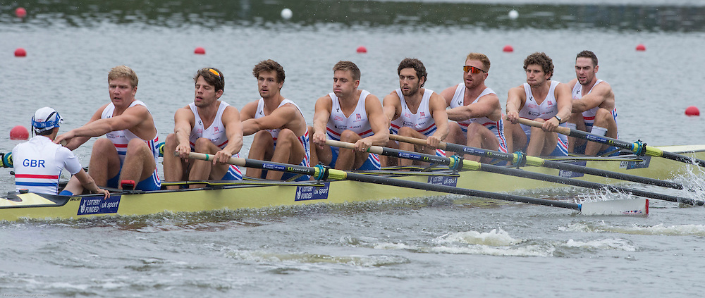 Amsterdam. NETHERLANDS.  Bow. Nathaniel REILLY-O'DONNELL, Matthew TARRANT, Will SATCH, Matthew GOTREL, Pete REED, Paul BENNETT, Tom RANSLEY,Constantie LOULOUDIS and cox Phelan HILL2014 FISA  World Rowing. Championships.  De Bosbaan Rowing Course . 17:33:32  Monday  25/08/2014  [Mandatory Credit; Peter Spurrier/Intersport-images]