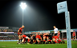 Gloucester Rugby and Saracens form a scrum during the game - Mandatory by-line: Nizaam Jones/JMP - 22/02/2019 - RUGBY - Kingsholm - Gloucester, England- Gloucester Rugby v Saracens - Gallagher Premiership Rugby