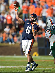 Virginia quarterback Marc Verica (6) in action against Miami.  The Miami Hurricanes defeated the Virginia Cavaliers 24-17 in overtime in a NCAA Division 1 Football game at Scott Stadium on the Grounds of the University of Virginia in Charlottesville, VA on November 1, 2008.