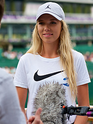 LONDON, ENGLAND - Thursday, July 5, 2018: Katie Boulter (GBR) during a television interview on day four of the Wimbledon Lawn Tennis Championships at the All England Lawn Tennis and Croquet Club. (Pic by Kirsten Holst/Propaganda)
