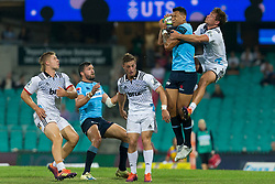 March 23, 2019 - Sydney, NSW, U.S. - SYDNEY, NSW - MARCH 23: Waratahs player Israel Folau (15) catches a high ball under pressure from Crusaders player David Havili (15) at round 6 of Super Rugby between NSW Waratahs and Crusaders on March 23, 2019 at The Sydney Cricket Ground, NSW. (Photo by Speed Media/Icon Sportswire) (Credit Image: © Speed Media/Icon SMI via ZUMA Press)