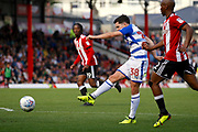 Reading Midfielder Liam Kelly (38) has a shot on goal during the EFL Sky Bet Championship match between Brentford and Reading at Griffin Park, London, England on 16 September 2017. Photo by Andy Walter.