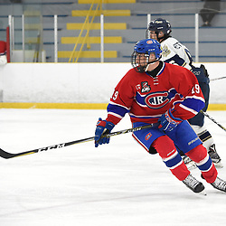 TORONTO, ON - JANUARY 5: Eric Ciccolini #19 of the Toronto Jr. Canadiens follows the play in the second period on January 5, 2019 at Westwood Arena in Toronto, Ontario, Canada.<br /> (Photo by Andy Corneau / OJHL Images)