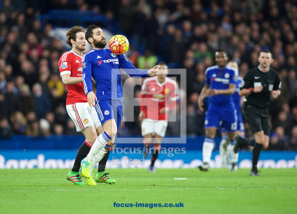 Cesc Fabregas of Chelsea takes the ball on his chest during the Barclays Premier League match at Stamford Bridge, London<br /> Picture by Alan Stanford/Focus Images Ltd +44 7915 056117<br /> 07/02/2016