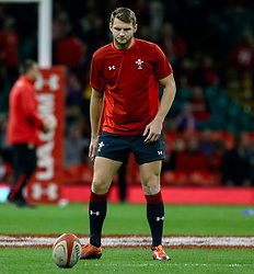 Dan Biggar of Wales during the pre match warm up<br /> <br /> Photographer Simon King/Replay Images<br /> <br /> Under Armour Series - Wales v Tonga - Saturday 17th November 2018 - Principality Stadium - Cardiff<br /> <br /> World Copyright © Replay Images . All rights reserved. info@replayimages.co.uk - http://replayimages.co.uk