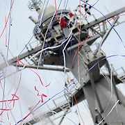 5/10/08 -- BATH, Maine. The U.S. Navy Christened DDG-106, as USS Stockdale on Saturday morning at Bath Iron Works. Vice Admiral James B. Stockdale was a well-known Prisoner of War in Vietnam and earned the Congressional Medal of Honor. He passed away on 2005. Admiral Stockdale's widow, Sybill Bailey Stockdale did the formal honors of breaking the bottle on the bow as his granddaughter, Elizabeth Eiseman Stockdale, served as Maid of Honor.  Maine Sen. Susan Collins, and Reps Tom Allen and Mike Michaud spoke at the ceremony. Several Medal of Honor winners and former POWs attended and were honored as part of the ceremony. Photo by Roger S. Duncan.