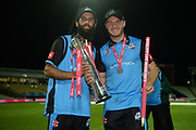 Moeen Ali and Ben Cox of with the Vitality Blast trophy during the final of the Vitality T20 Finals Day 2018 match between Worcestershire Rapids and Sussex Sharks at Edgbaston, Birmingham, United Kingdom on 15 September 2018.
