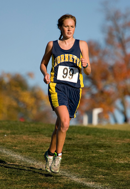Senior Jordan Esry of Hamilton Penny High runs in the 2007 MSHSAA cross country class 1 championships at the Oak Hills golf center in Jefferson City, MO on Saturday, November 3rd, 2007. Esry placed second individually, leading the Penny team to an overall first place victory. Photo by Patrick Fallon