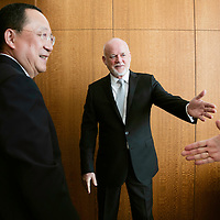 Peter Thomson meets with Mr. RI Yong Ho, Minister for Foreign Affairs of North Korea (center left).