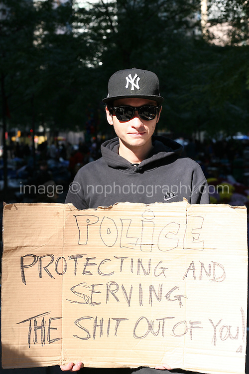 Occupy Wall Street protester at Zuccotti Park in the financial district New York