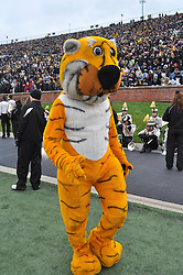 Nov 13, 2010; Columbia, MO, USA; Missouri Tigers mascot entertains the crowd during the game against the Kansas State Wildcats at Memorial Stadium. Missouri won 38-28. Mandatory Credit: Denny Medley-US PRESSWIRE