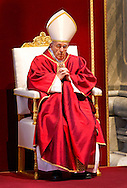 Rome, 03-04-2015<br /> <br /> Pope Francis celebrates the Good Friday mass at the St Peters Basilica<br /> <br /> Photo:Royalportraits Europe/Bernard Ruebsamen