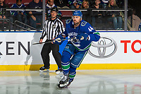 KELOWNA, BC - SEPTEMBER 29:  Erik Gudbranson #44 of the Vancouver Canucks skates against the Arizona Coyotes at Prospera Place on September 29, 2018 in Kelowna, Canada. (Photo by Marissa Baecker/NHLI via Getty Images)  *** Local Caption *** Erik Gudbranson;
