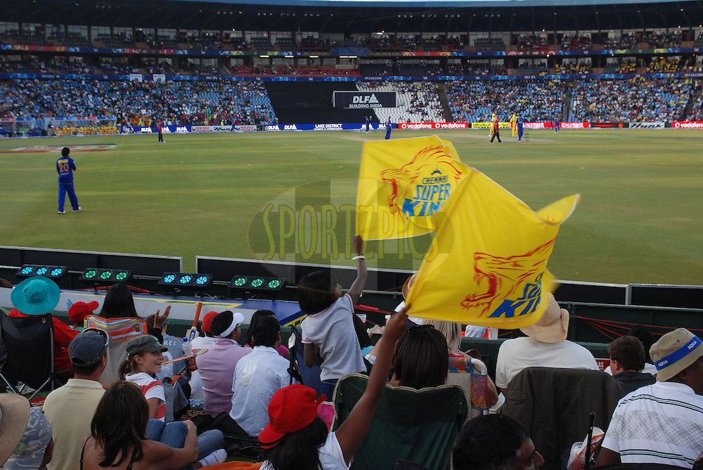 CENTURION, SOUTH AFRICA - 30 April 2009.  Yellow flags brighten up the dusk during the IPL Season 2 match between the Rajasthan Royals and the Chennai Superkings held at Centurion, South Africa.