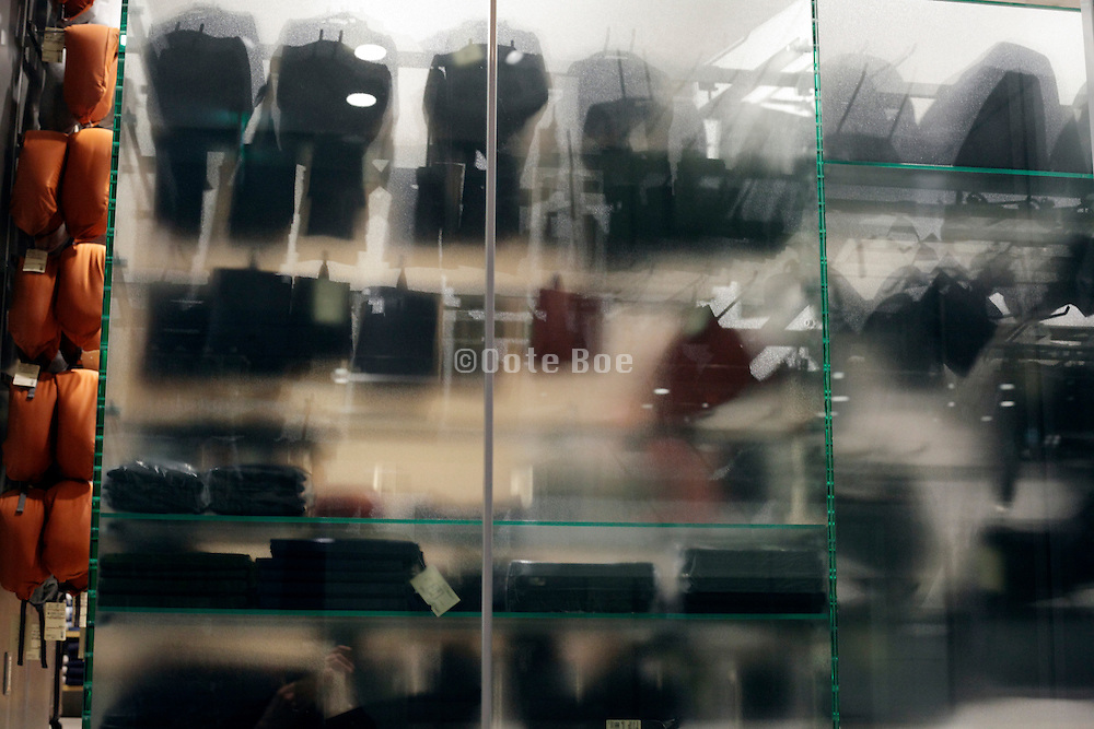 glass shelves in a shopping center