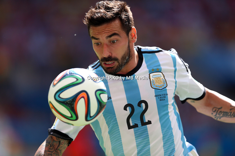 Fifa Soccer World Cup - Brazil 2014 - <br /> ARGENTINA (ARG) Vs. BELGIUM (BEL) - Quarter-finals - Estadio Nacional Brasilia -- Brazil (BRA) - 05 July 2014 <br /> Here Argentine Ezequiel Lavezzi<br /> &copy; PikoPress