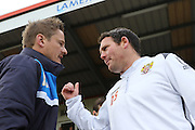 AFC Wimbledon Manager Neal Ardley and Stevenage Caretaker Manager Darren Sarll prior the Sky Bet League 2 match between Stevenage and AFC Wimbledon at the Lamex Stadium, Stevenage, England on 30 April 2016. Photo by Stuart Butcher.