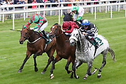 SOVEREIGN DEBT (5) ridden by jockey James Sullivan and trained by Ruth Carr winning The Listed mrgreen.com Live Casino Ganton Stakes over 1m (£50,000) during the Mid Summer Raceday at York Racecourse, York, United Kingdom on 15 June 2018. Picture by Mick Atkins.