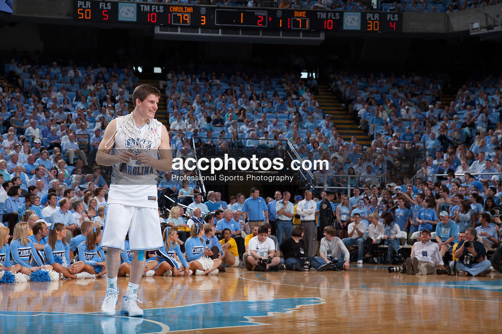 08 March 2009: North Carolina Tar Heels guard Bobby Frasor (4) appears in front of the Carolina fans one last time in the Smith Center as a player as he delivers his senior speech after a 79-71 win over the Duke Blue Devils at the Dean Smith Center in Chapel Hill, NC.