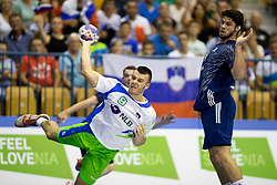 Grega Ocvirk of Slovenia during handball match between National teams of France and Slovenia in Final of 2018 EHF U20 Men's European Championship, on July 29, 2018 in Arena Zlatorog, Celje, Slovenia. Photo by Urban Urbanc / Sportida