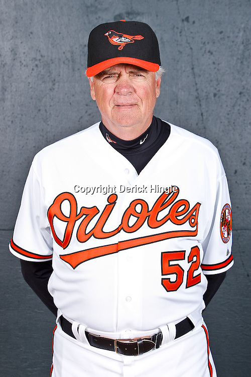 February 26, 2011; Sarasota, FL, USA; Baltimore Orioles coach Mark Conner (52) poses during photo day at Ed Smith Stadium.  Mandatory Credit: Derick E. Hingle