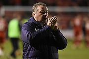 AFC Wimbledon Manager Wally Downes applauds the fans during the EFL Sky Bet League 1 match between Walsall and AFC Wimbledon at the Banks's Stadium, Walsall, England on 12 February 2019.