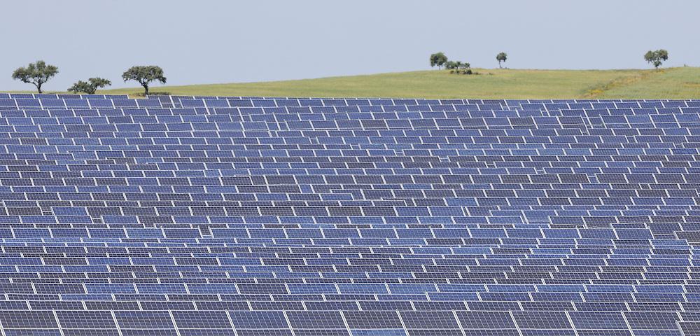 Solar power panel landscape, power station in Extremadura, Spain