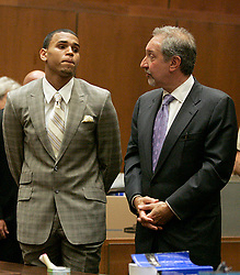 Jun 22, 2009 - Los Angeles, California, USA - Singer CHRIS BROWN stands next to his attorney MARK GERAGOS in court, answering charges of assaulting his former girlfriend, pop star Rihanna during a hearing at the Criminal Courts Building on June 22, 2009 in Los Angeles, California. (Credit Image: © Lori Shepler-POOL/ZUMA Press)