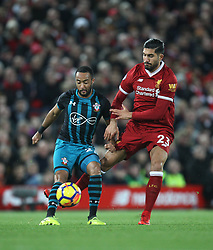 Nathan Redmond of Southampton (L) and Emre Can of Liverpool in action - Mandatory by-line: Jack Phillips/JMP - 18/11/2017 - FOOTBALL - Anfield - Liverpool, England - Liverpool v Southampton - English Premier League