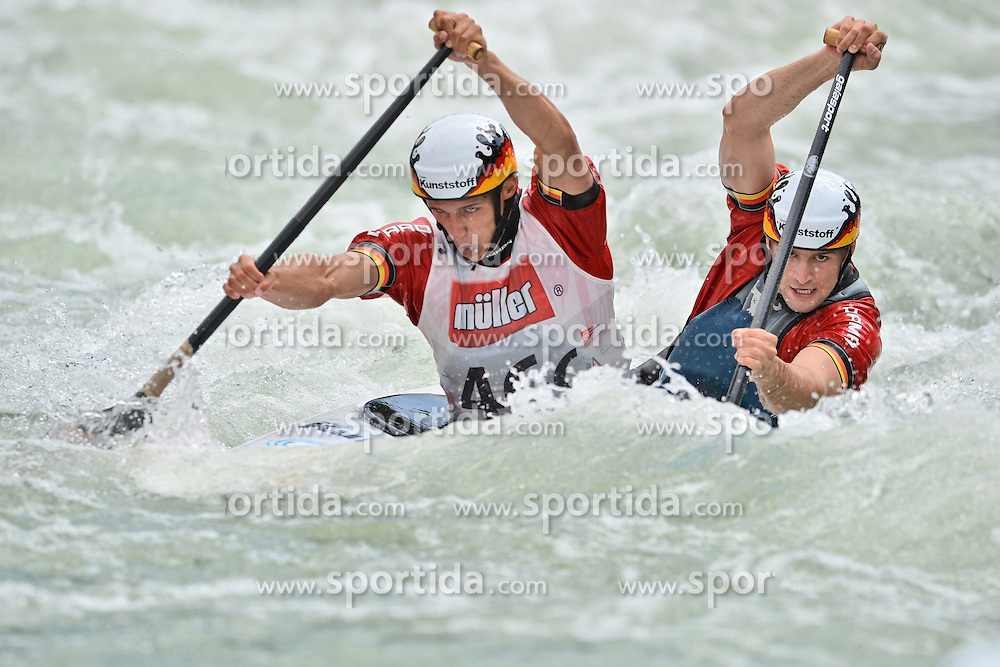 30.06.2013, Eiskanal, Augsburg, GER, ICF Kanuslalom Weltcup, Finale Kanu-Zweier Teams, Maenner. im Bild Eric MENDEL (vorne) und Alexander FUNK (hinten) aus Deutschland, Finale, Team, Kanu, Canoe, C2, Teams, Herren, Deutschland // during the final of canoe double of the men kayak team of ICF Canoe Slalom World Cup at the ice track, Augsburg, Germany on 2013/06/30. EXPA Pictures © 2013, PhotoCredit: EXPA/ Eibner/ Matthias Merz<br /> <br /> ***** ATTENTION - OUT OF GER *****