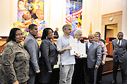 Thomas Rapacki Jr. and Thomas Rapacki Sr. both receive commendations from Camden city council at city hall.